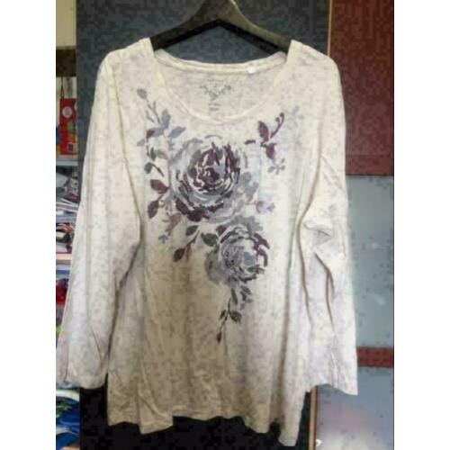 Beige bloem dames top , maat: xl